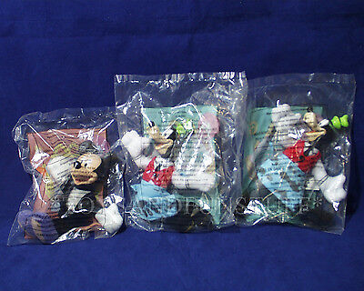 """New 3 Disney HOUSE OF MOUSE McDonalds""""s Happy Meal Plush Toys GOOFY MICKEY 2001"""