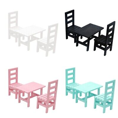 1/6 BJD Doll House Miniature Wooden Oblong Table and 4 Chairs Set Furniture