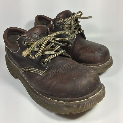 Doc Dr Martens Low Top Rugged Brown Boots Size 9 10 Uk 8 Leather Thick