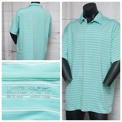 bfe11b4a Nike Golf Green White Striped Mens Polo S/Sleeve Shirt Size XL 46