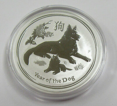 2018 Australian Year of the Dog BU 1 oz .9999 Silver One Dollar Coin in Capsule