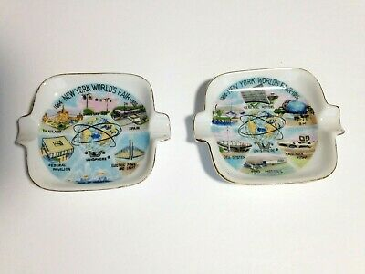 2 New York World's Fair Ashtrays 1964 Souvenir Unisphere Made Japan Collectible