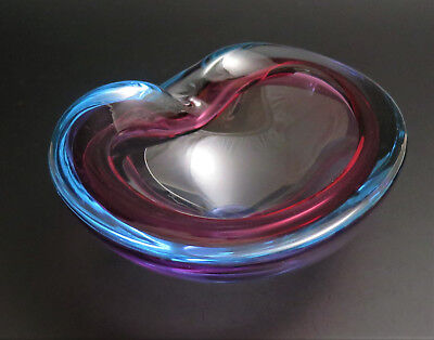 Vintage MURANO SOMMERSO BLUE PURPLE PINK GLASS BOWL