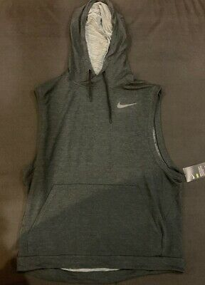 ad7103be8 Nike Mens Sleeveless Hoodie Sz 2XL Gray Dri-Fit Training Work Out 742618-010