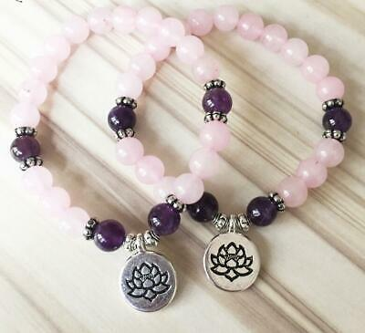 8mm Amethyst rose quartz Bracelet cuff mala Healing Bless Stretchy Buddhism