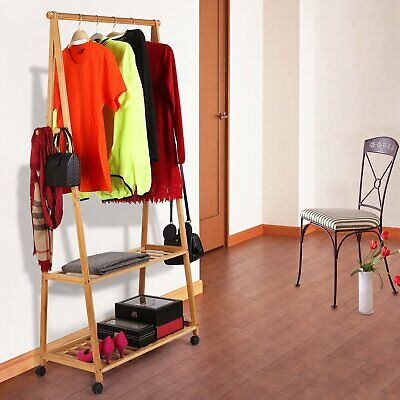 BAMBOO CLOTHES GARMENT Rack with 2-Tier Storage Shelves for ...
