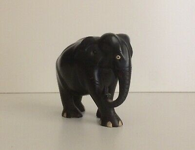 Solid Ceylon ebony 1920s carved elephant sculpture
