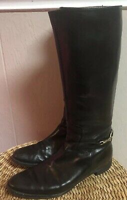 852a045b91189 BURBERRY BLACK TALL Leather Heeled Boots - size 39 IT - 9 US ...