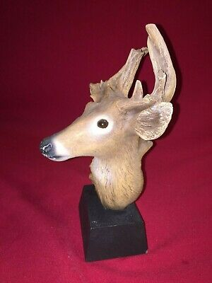 """Rick Cain """"Forest Nimble"""" Deer Tree Head Wood Carved Sculpture 577/2000"""