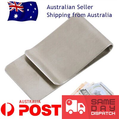Money clip note card holder stainless steel mens wallet ladies purse bag new