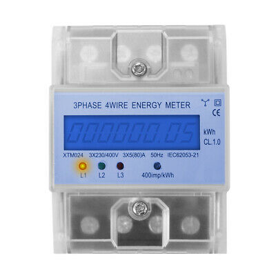 5(80)A 3x230/400V 50Hz 3-Phase 4-Wire Energy Meter KWh Power Din Rail LCD TE750