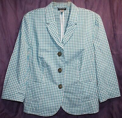 GERRY WEBER BLUE Gray 3 Button Front Striped Plaid Women's