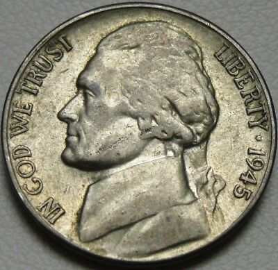 1945-S 5C Jefferson Nickel, Toned, War Nickel, Silver, #10185