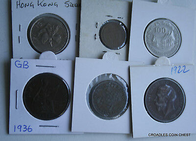 6 X Mixed World Coin's General Mix Modern World In 2X2 Holders #vry50