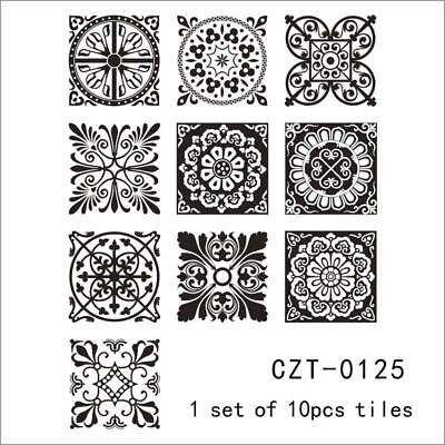 10pcs Self-adhesive Tile Sticker Home Decor DIY Kitchen Mural Waterproof Black
