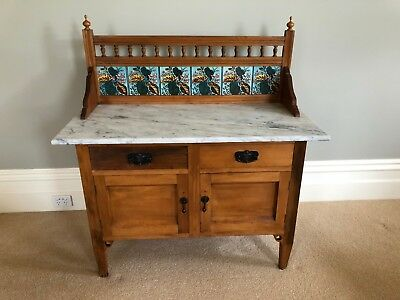 Antique Early 1900's Australian Pine, Marble Top & Tile Back Wash Stand