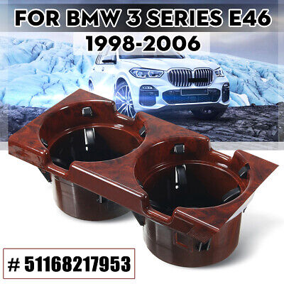 UK Front Center Console Drink Cup Holder 51168217953 For BMW E46 Wooden Grain