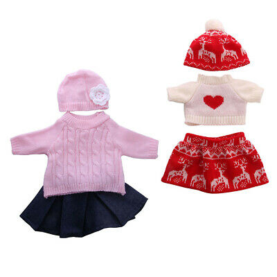 Doll Sweater Miniskirt and Hat Winter Clothes for American Girl 18inch Dolls