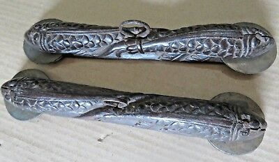 Antique Music Instrument carved fish figurine Holy percussion finger cymbals 2x