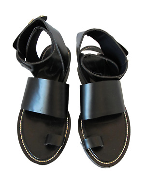 Boots Balenciaga Ghesquiere Amazing Sandals Black Leather Sz.40 Neoprene Lining Doc St Clothing, Shoes & Accessories