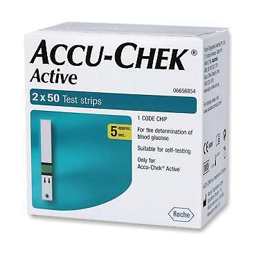 Accu Chek Active100(2X50 )Test Strips-1Code Chip-Expiry SEPT-2020 Free Shipping