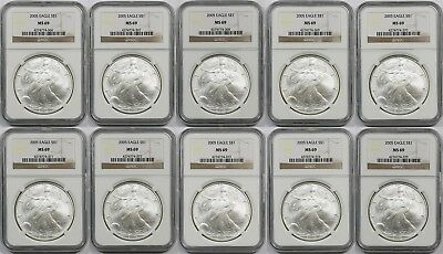 LOT 10 - 2005 Silver Eagle Dollar $1 MS 69 NGC (10 Coins)