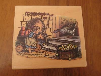 PSX Tasha Tudor Girl and Goose Corgi Cottage Horse Rubber Stamp