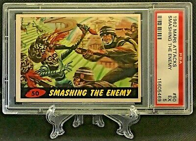 1962 Mars Attacks SMASHING THE ENEMY #50 EXCELLENT 5 - Topps garno PSA