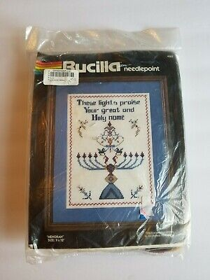 Bucilla needlepoint kit #4503 Menorah New Open Package  Wool Yarn