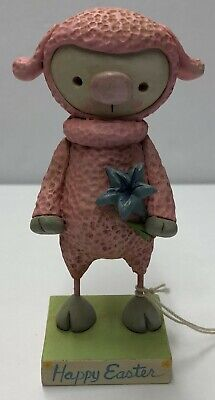 Original One Of A Kind Hand Formed Clay Easter Whimsical Lamb - Janell Berryman