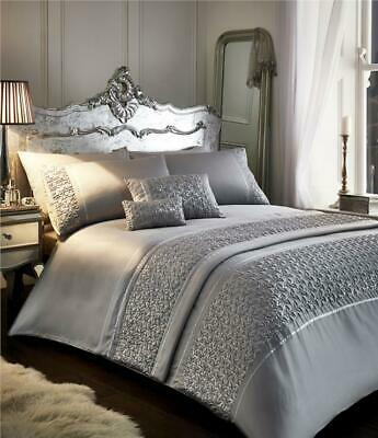 KING SIZE LUXURY DUVET SET New silver grey sequin quilt cover bed set