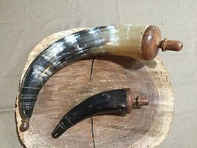 """BLACK POWDER HORN WITH LEATHER CARRYING STRAP 8/"""" 10/"""" #S8-001"""