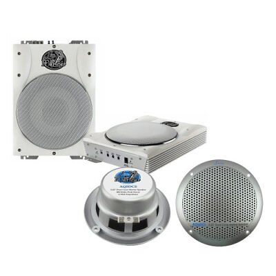 Lanzar 5.25'' Silver Marine Speakers + 8'' Amplified Marine Subwoofer System