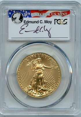 2016 W 1oz $50 PCGS SP-70 Burnished Gold American Eagle Signed Edmund Moy 30th