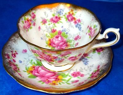 Royal Albert Fancy Heavy Gold Pink Roses Forget-Me-Not Flowers Bone China Cup