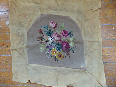 VTG 15x14 Rose & Floral Woolen Needlepoint Tapestry for Chair Seat