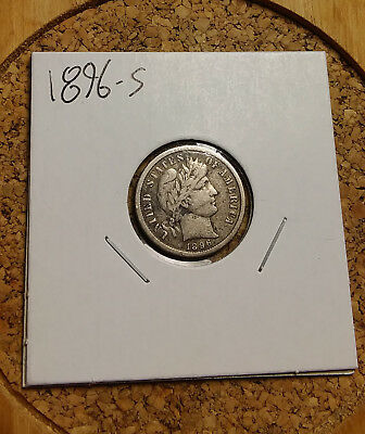 1896 S 10C Barber Dime 90 % Silver US Coin BD71 Old (TUCK) RARE KEY DATE F/VF