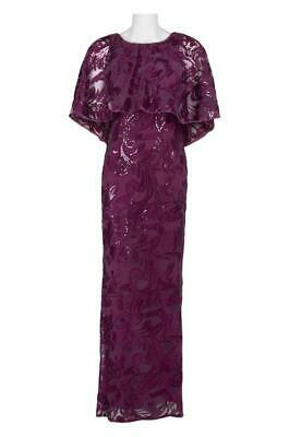 647233c5505f4 $320 Adrianna Papell Women's Purple Sequined Cape Sleeve Slit Formal Down  Size 2