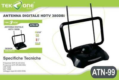 Antenna TV Amplificata Per Digitale Terrestre DTT DVB-T VHF UHF FULL HD 38dB LTE