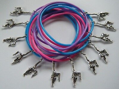 12 GYMNAST CHARM BRACELETS GYM DANCE PARTY GIFTS BAG FILLERS PRIZES COMPETITION
