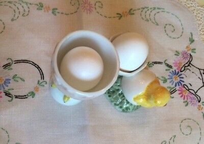 Egg Cups Midcentury 2 Pieces Ceramics Art Pottery Chick Easter Chicken Kitsch