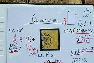 Queensland Queen Vic Yellow  V.f.u. State Stamp Gov Fiscal Used, Fault