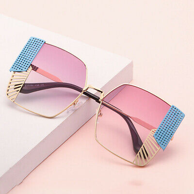 Square Sunglasses Women Men Vintage Fashion Metal Grid Eyewear Glasses