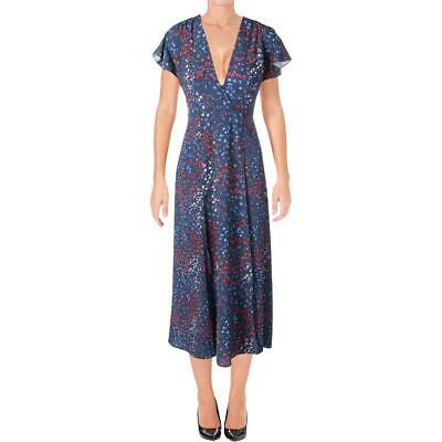 0f928997c8b French Connection Womens Blue Printed Faux-Wrap Casual Maxi Dress 8 BHFO  3732