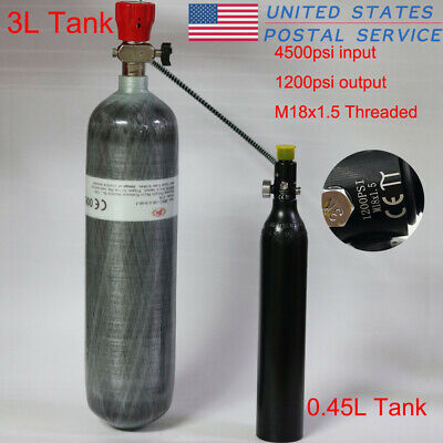 3L 4500psi High Pressure Tank 0.45L Air Bottle 1200psi Valve Shipping Piantball