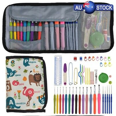 49Pcs Crochet Hook Crochet Hooks Knitting Needles Pro Waves Kit Soft Grip Set