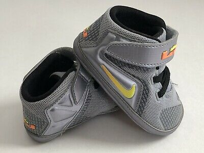 Nike LeBron XII Baby Shoes 3C~LeBron XII Flight Gray Infant Crib Shoes c278a3c618a5