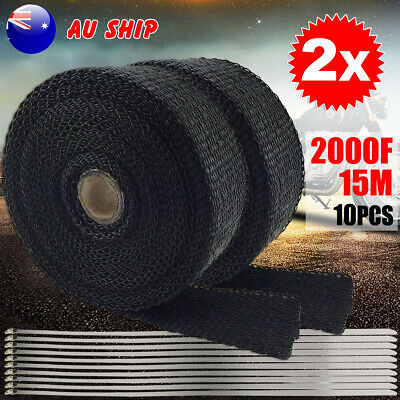 2X Heat Resistant 2000F Exhaust Wrap 15M*50mm Protector Stainless Steel Ties
