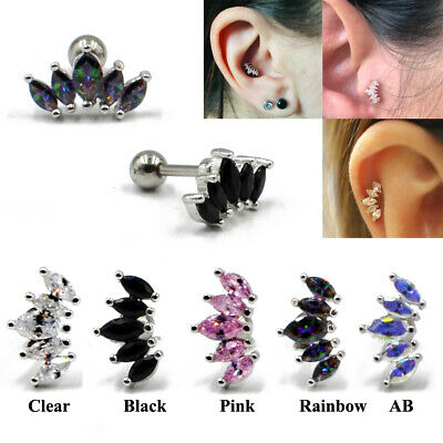 1pc Marquise Gem Ear Cartilage Piercing Earring Tragus Helix Stud Body Jewelry