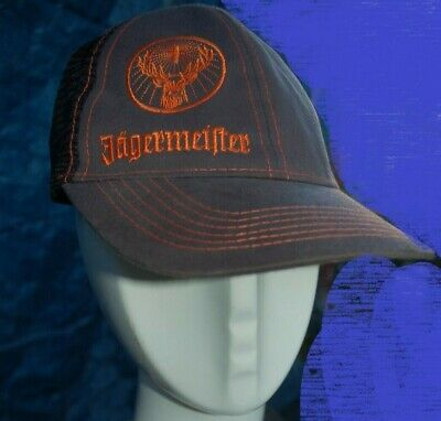 64e2f6188ab70 Jägermeister Trucker style hat with mesh back Grey and orange Stag logo